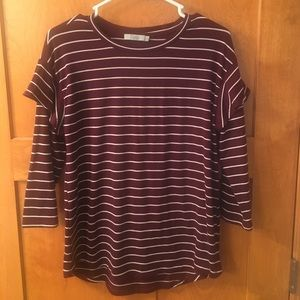 Maroon with white striped top